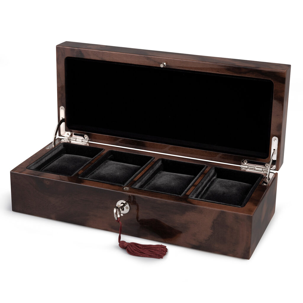 Four Watch Box Rectangular 4 Watch Pads Walnut custom gift
